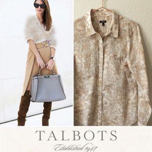 TALBOTS Floral Semi-Sheer Convertible Sleeve Shirt